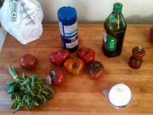 The ingredients all laid out (except the vinegar which was sour about being left in the cupboard)