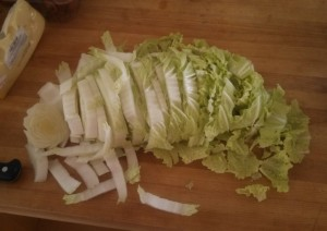 Napa cabbage cut into slices