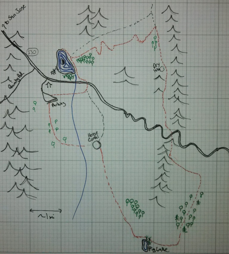 My map of the hike, our trail is in red