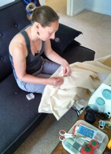 Sewing the seam on the muslin