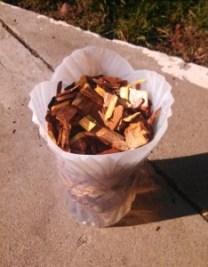 Step 1 is soak the wood chips for a couple of hours