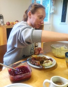 Jasmine with the rest of thankgiving (Capon, Mashed Sweet Potato, Stuffing,Kimchi, and the Cranberry sauce)