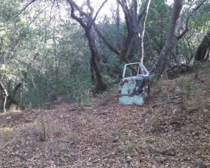 Someone abandoned a car door 1km up the trail and shot a bunch holes into it.  Proof even the bay area has its rednecks
