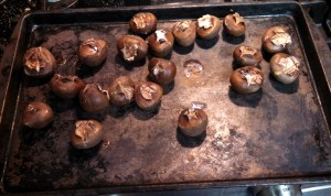 about 20 minutes later the shells will have opened up so take them out of the oven