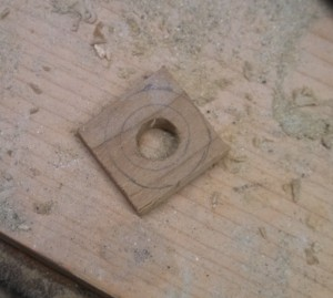 "Drill out the inner hole to 3/8"" and rough cut out the outside"