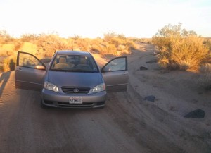 The drive out to the campsite had a little over aggressive offroading in a Corolla.  I had to slowly back up over the dirt mound with my 3 contacting tires.  We decided that that was far enough and parked