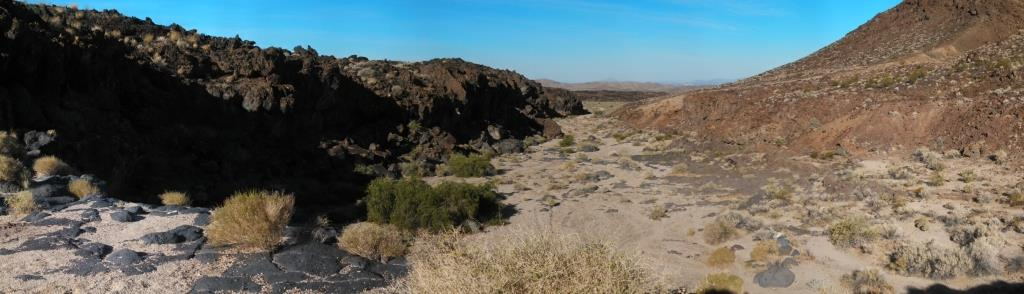 A really cool valley was formed by the volcanic flow stopping and eroding away.