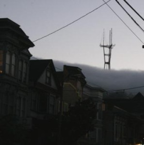 One of my favorite views in the city, fog included. It makes Sutro Tower look much more interesting.
