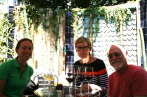 My parents and me at the Vintage Wine Bar. We liked the fountain.