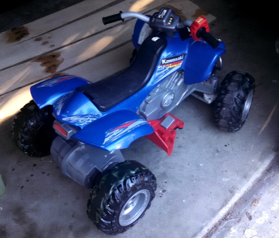 I also fixed some of the plastic tires on the neighbors electric toy quadbike :)