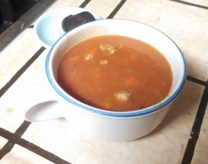 Finished soup, even though there aren't that many clams using the liquid from the boil makes it taste really clamey.