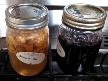 Finally, turn off heat and pour into clean jars. The persimmon jam is sitting next to the blueberry-strawberry jam I also made last night.