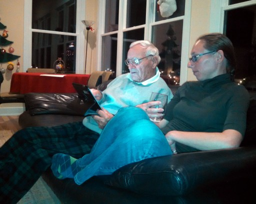 Jasmine teaching grandpa  Frank to use facebook on his Ipad. Old people + technology = funny.  I hope that I can retain my sense of amusement at this when I am older myself.