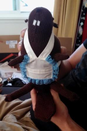 Mrs. Beaver and my first attempt at doll clothes since I was about 14.