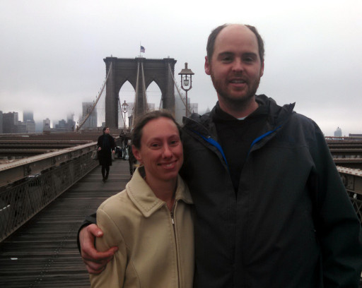 We went super tourist and took our picture on the Brooklyn Bridge. I also photo-bombed someone on the other side.