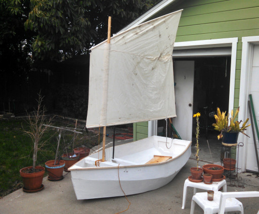Finished boat in the backyard. I love the boat but I think that we might need a v3 on the sail.