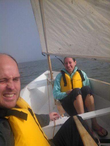 "A sailing selfie! One downside of a small (8'4"") boat is it is a little cramped, especially as I am 6'4"" tall."