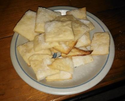 Pie crust with sugar as an appetizer. I usually make this when I make quiche since the recipe makes two pie crust shells.