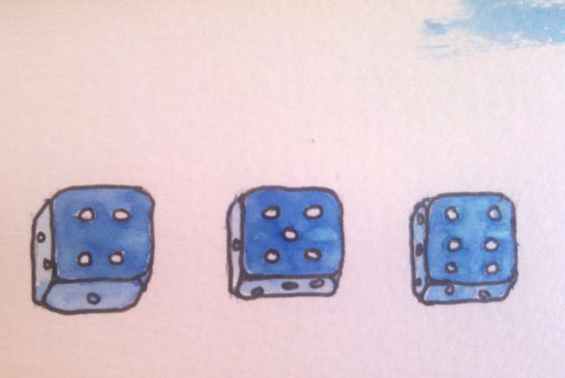 Some dice, drawn from Tyler and Mandy's wedding presents.