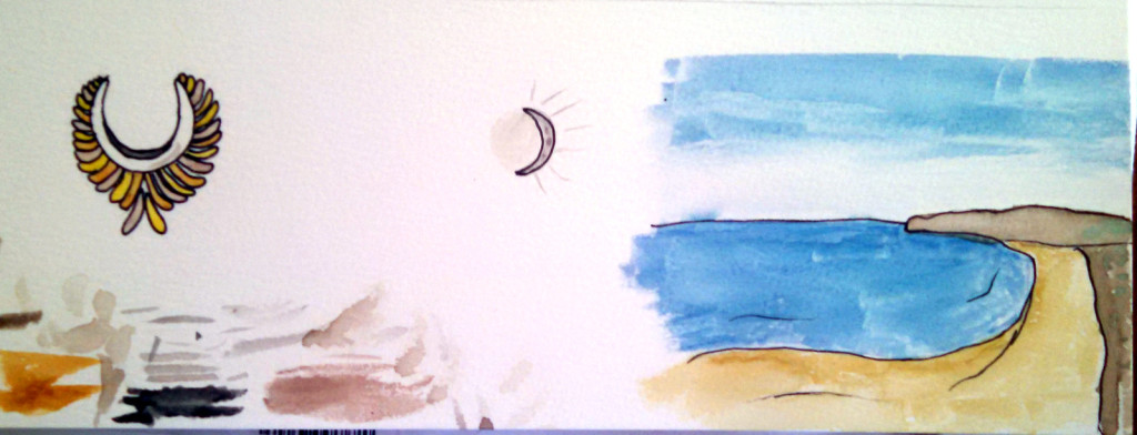 A egyption stylised bird, the moon, and a beach in half moon bay I had lunch at last week drawn from memory - drawing in person or from a picture is much easier.