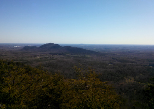 The View from the top, you can see Crowders Mt. in the foreground.