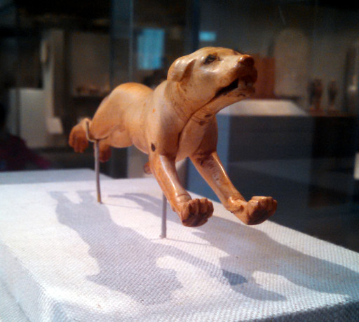 A Egyptian Ivory child's toy in the shape of a dog. It's mouth moves by a handle. At rougly 3500 years old I still want to make a copy (in wood) for my Nephew.