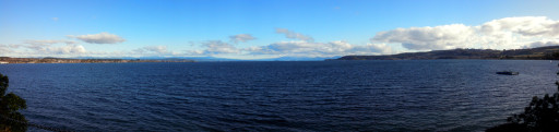 Lake Taupo from the North. Jasmine takes a nicer panorama than I do.