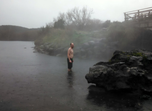 Lloyd halfway into the hot springs. Pictures obviously stopped due to the wet.
