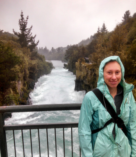"Jasmine in front of Huka Falls. Super tourist picture! Also nearby signs stated ""Rapid Currents Swimming not Advised"""