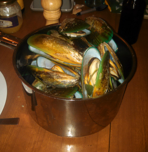 Third Course: Steamed Mussels with a butter and blue cheese dipping sauce