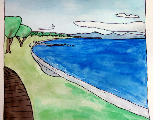Lake Taupo, from the northern coast. I like the cartoon style with watercolours.