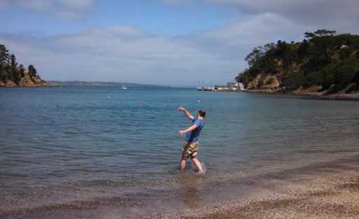 The obligatory shot of Lloyd in the water. This time skipping stones!