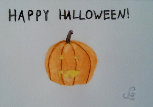 I'm pretty happy with how my jack-o-lantern turned out. It's one of my first watercolours with the watercolour pencils.