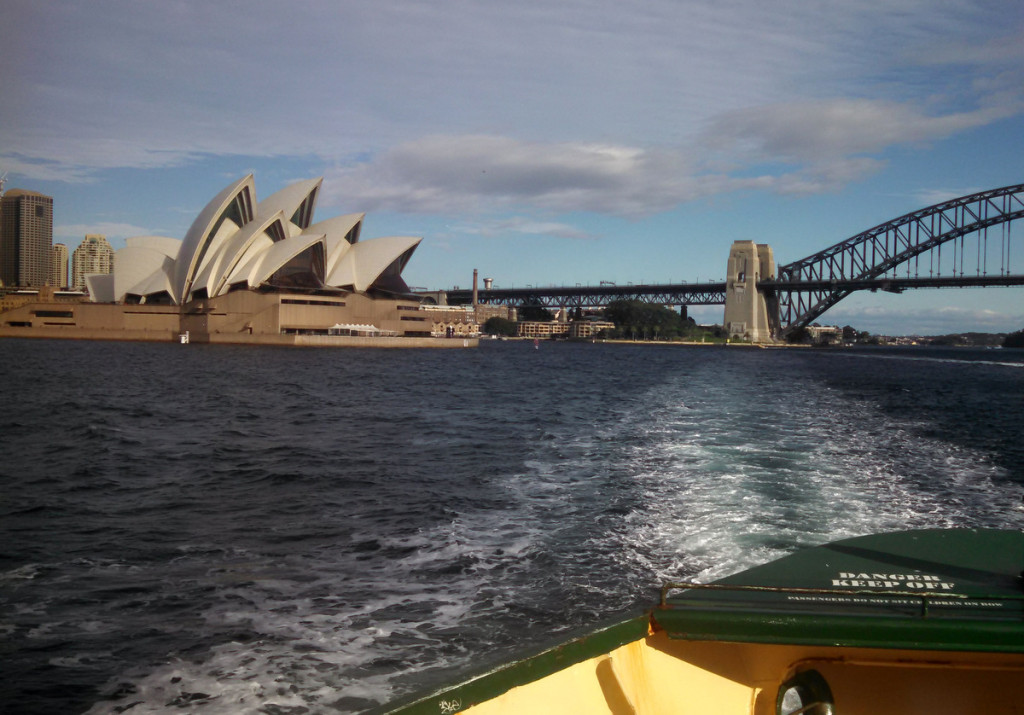 The most Sydney picture ever. The Opera House and Harbor Bridge taken from a ferry out to Manly.