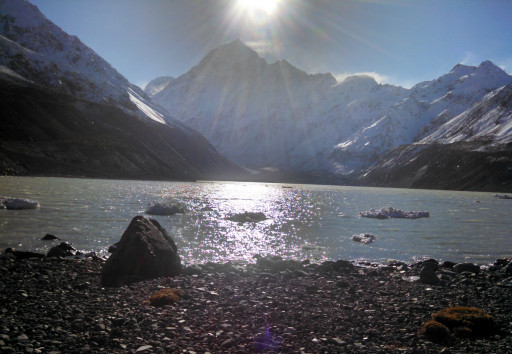 Mt Cook with a pretty glacial lake view.