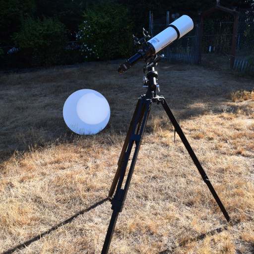 The projecting telescope setup. All it takes is a telescope, a 90 degree viewing lens, and a large white surface