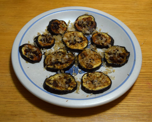 Dinner dish #1: Miso eggplant with bonito flake.