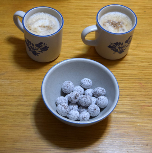 Desert #1: Latte and chocolate covered macadamia nuts.