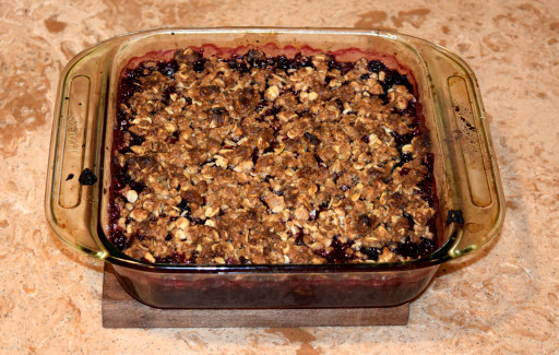 Dessert #2: Blackberry crisp. We have non stop blackberries in the backyard, and I needed to used them.