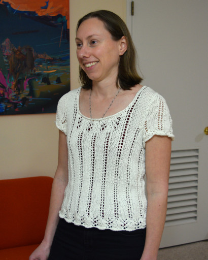 Two different lace patterns for this shirt! I really like knitting lace.