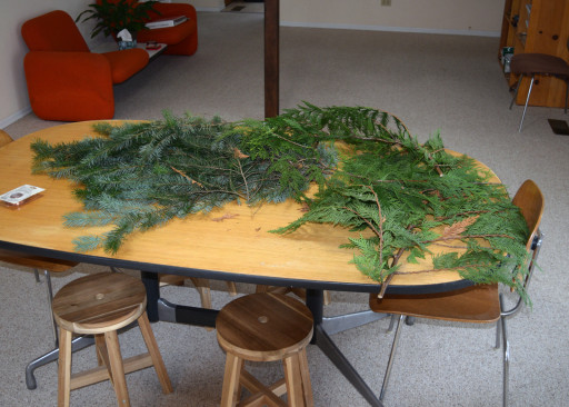 The boughs on our kitchen table. Our house smelled amazing for a couple of days.