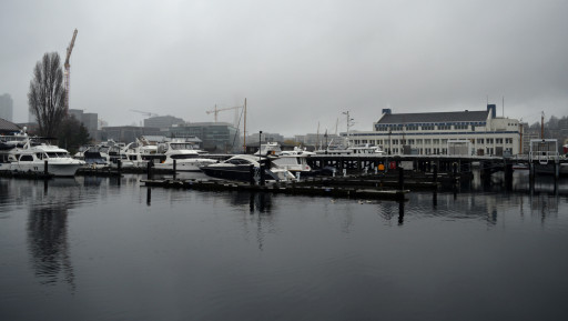 The most Seattle image of the day. Fancy boats, foggy rain, cranes, and the space needle in the backround.