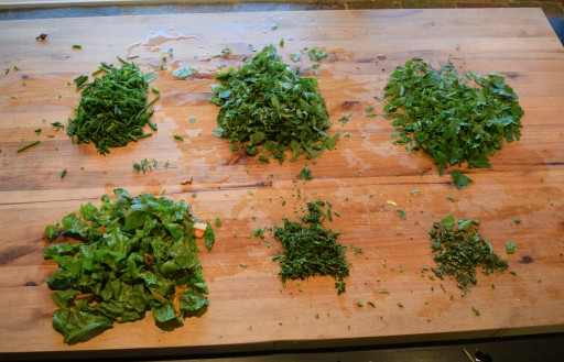 Made a pesto with the local parsley, oregano, thyme, rosemary, and Swiss chard.